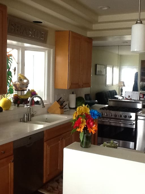 Gourmet kitchen!! Upgraded appliances all stainless steel! 3 ovens, Viking stove, Bosch dishwasher, trash compactor.