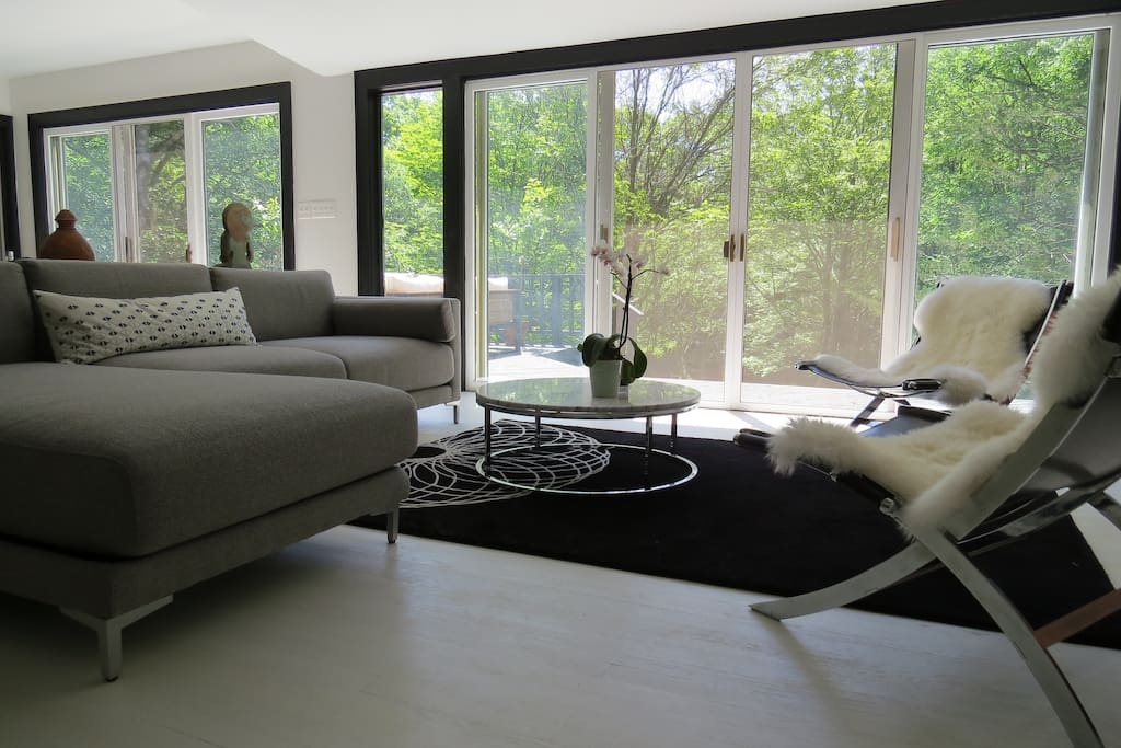 French doors lead onto the deck and grounds
