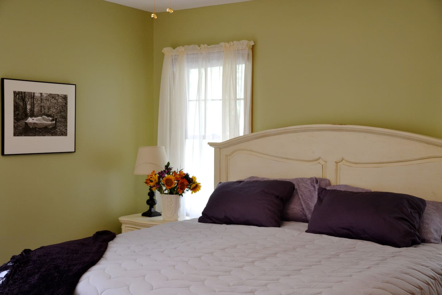 master bedroom, with walk out deck