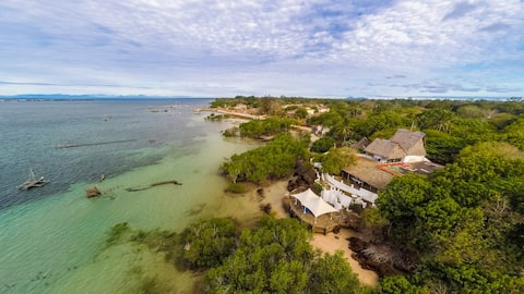 Cottages  in Shimoni on the Wasini channel.