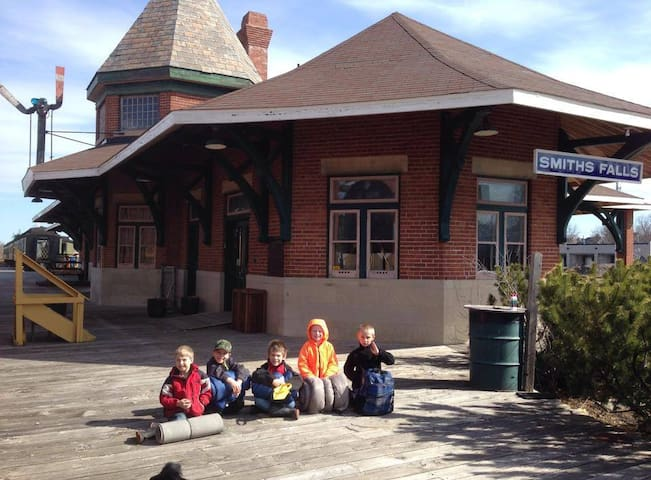 Some of our youngest overnight visitors waiting outside our 1912 Canadian Northern Railway Station.
