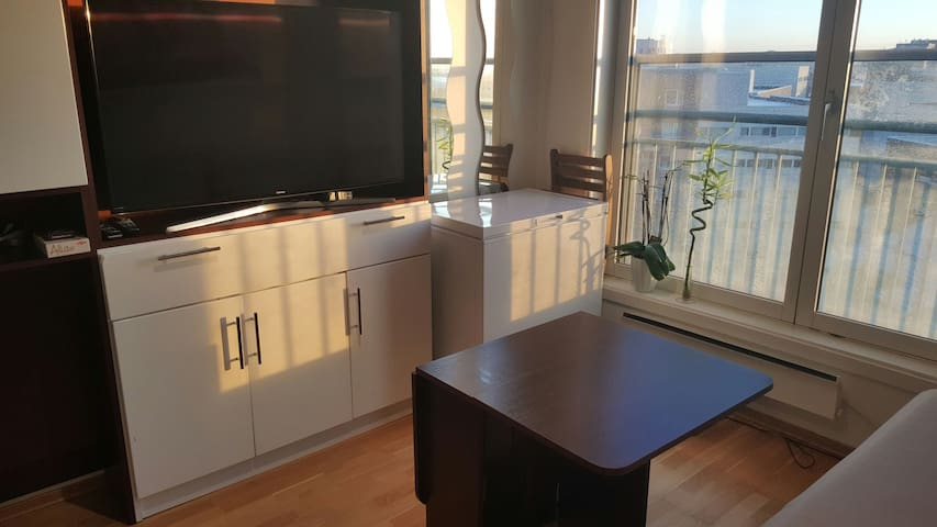Modern studio apartment with view