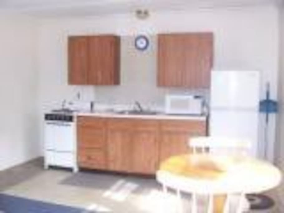 Kitchen set up with microwave and small appliances stove and fridge