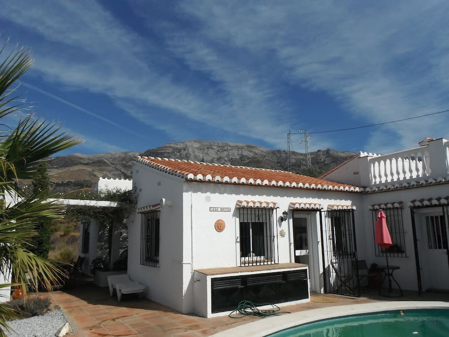 Showing Kitchen and pool, with roof terrace top right