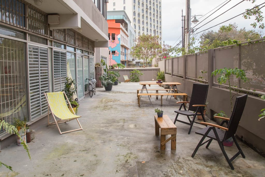 Terrace is very private, shared only with owner.  Just relax.