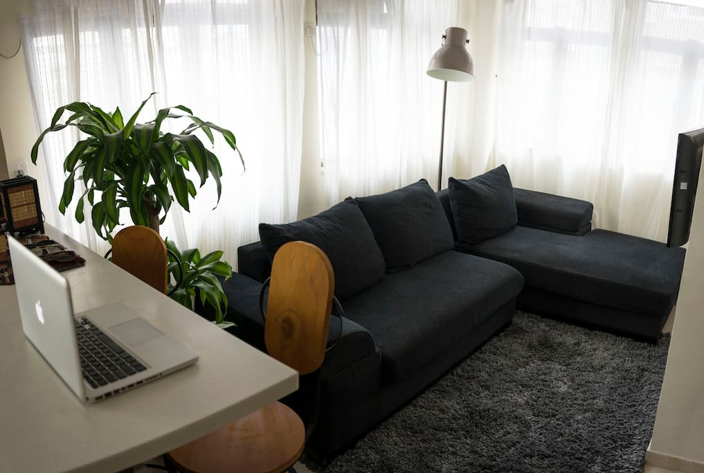 Big double sofa  to relax on surrounded by light from the windows.