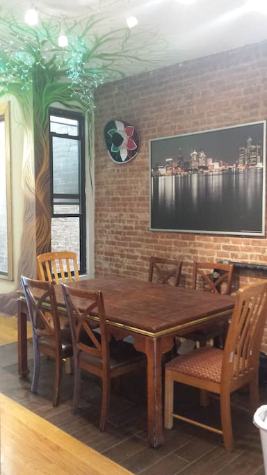 Our dining room, where you can eat, work, paint, or just hang out!