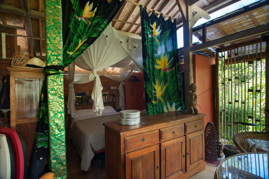 A house is just a house, right? But Wayan Jen is proud of what she has created for herself. This is her own bedroom, only available to book when she is away.