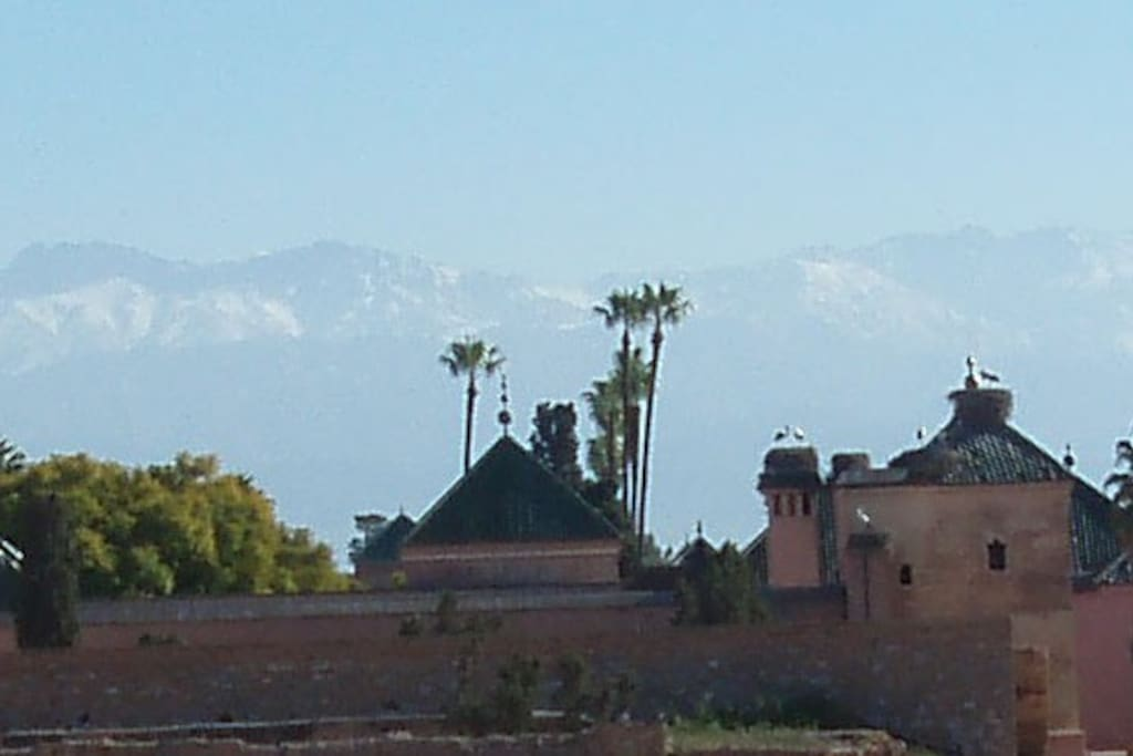 View to the snowy mountain range of the High Atlas.