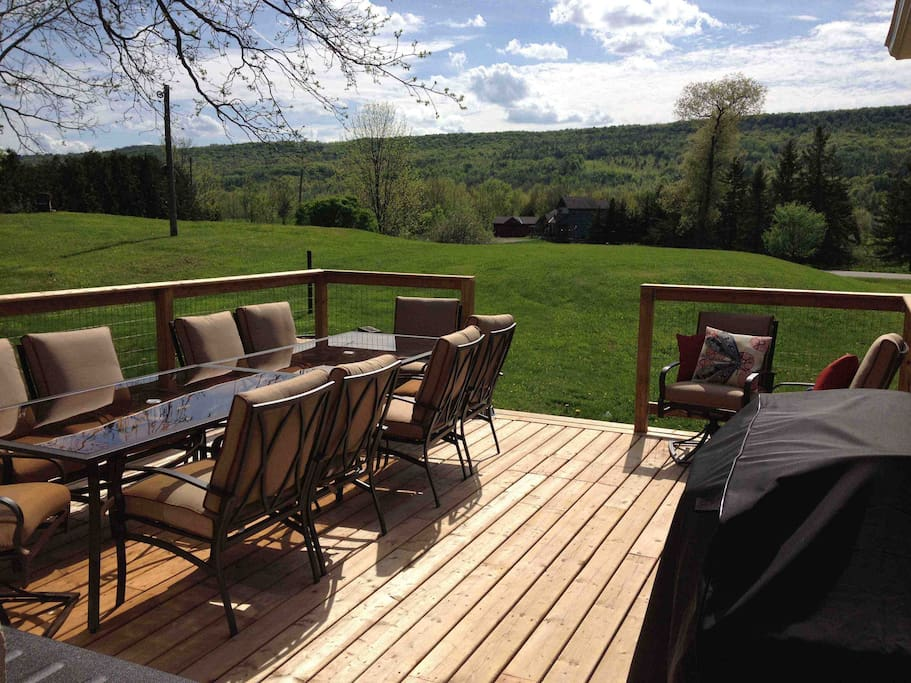 back deck with dining for 12 and bbq, views of the escarpment