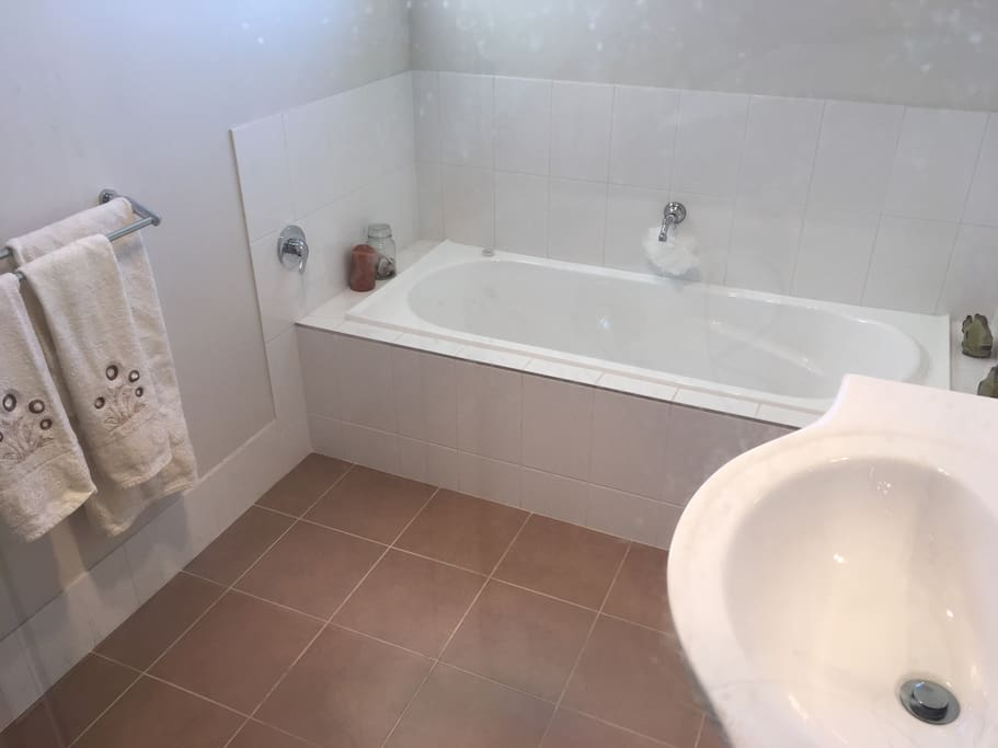 The guest bathroom is spacious with a bathtub and shower.