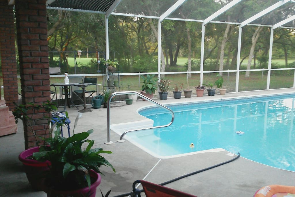 View of Beautiful pool from Kitchen.