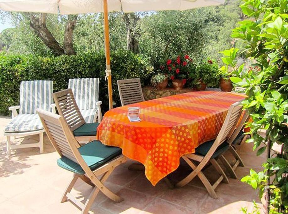 Terraza grande con mesa para 8 personas