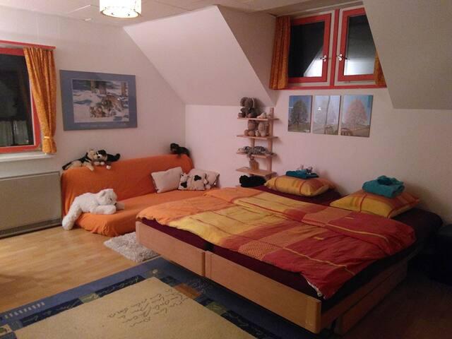 grosses, einfaches Zimmer in einem Bauernhaus