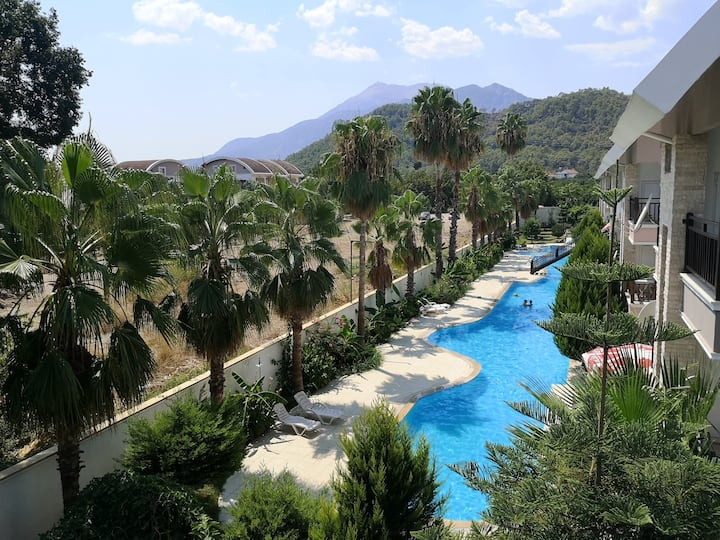 1+1 flat in Kemer,big pool,near sea&centrum B