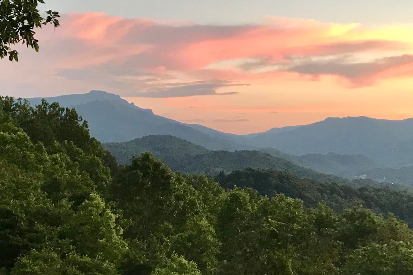 Grandfather Mountain at dusk. Part of the View at Heaven's Gate and its sister cabin, SaVista Lodge.