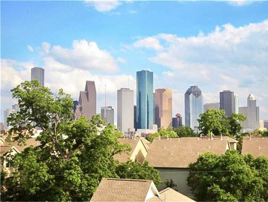 Our view of downtown houston skyline.