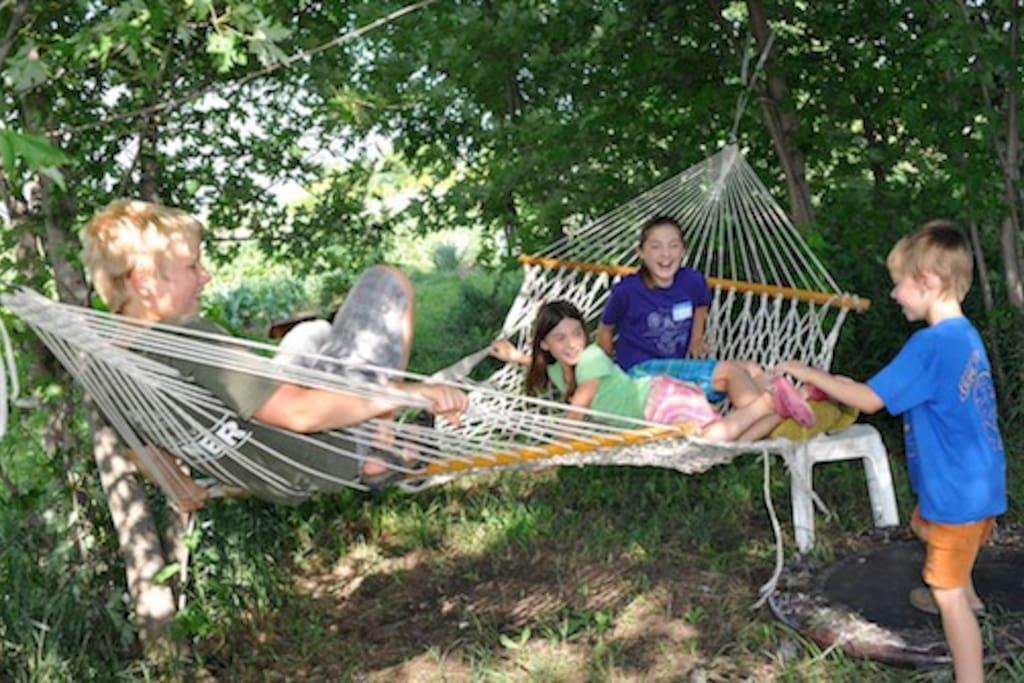 Kids and kids at heart love chilling out on our hammocks.