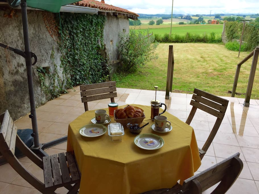 Enjoy breakfast on your private terrace with views over garden and fields to the stunning Pyrenees                                                         mountains.