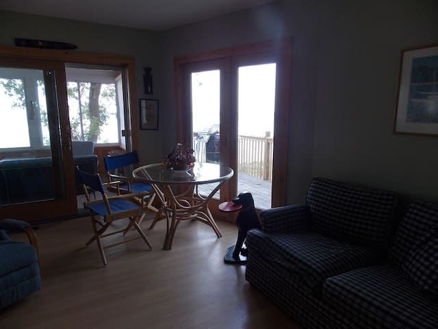 Living room with sliding doors to outdoor porch
