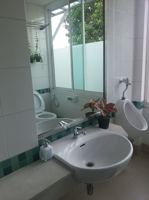 Clean and tidy shared toilet with free soap, shampoo