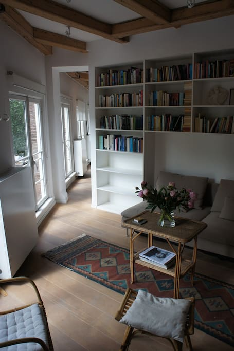 the living room with library and sofa-bed. Left of the bookshelf the pass-through to the dining area and kitchen