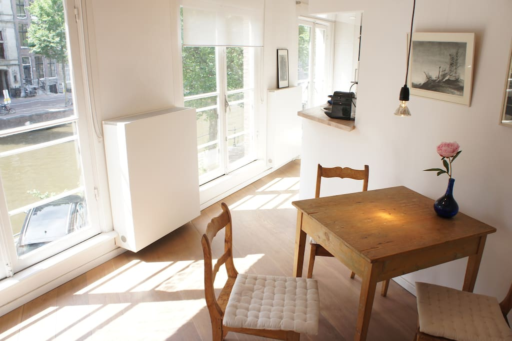 view from dining area into the kitchen