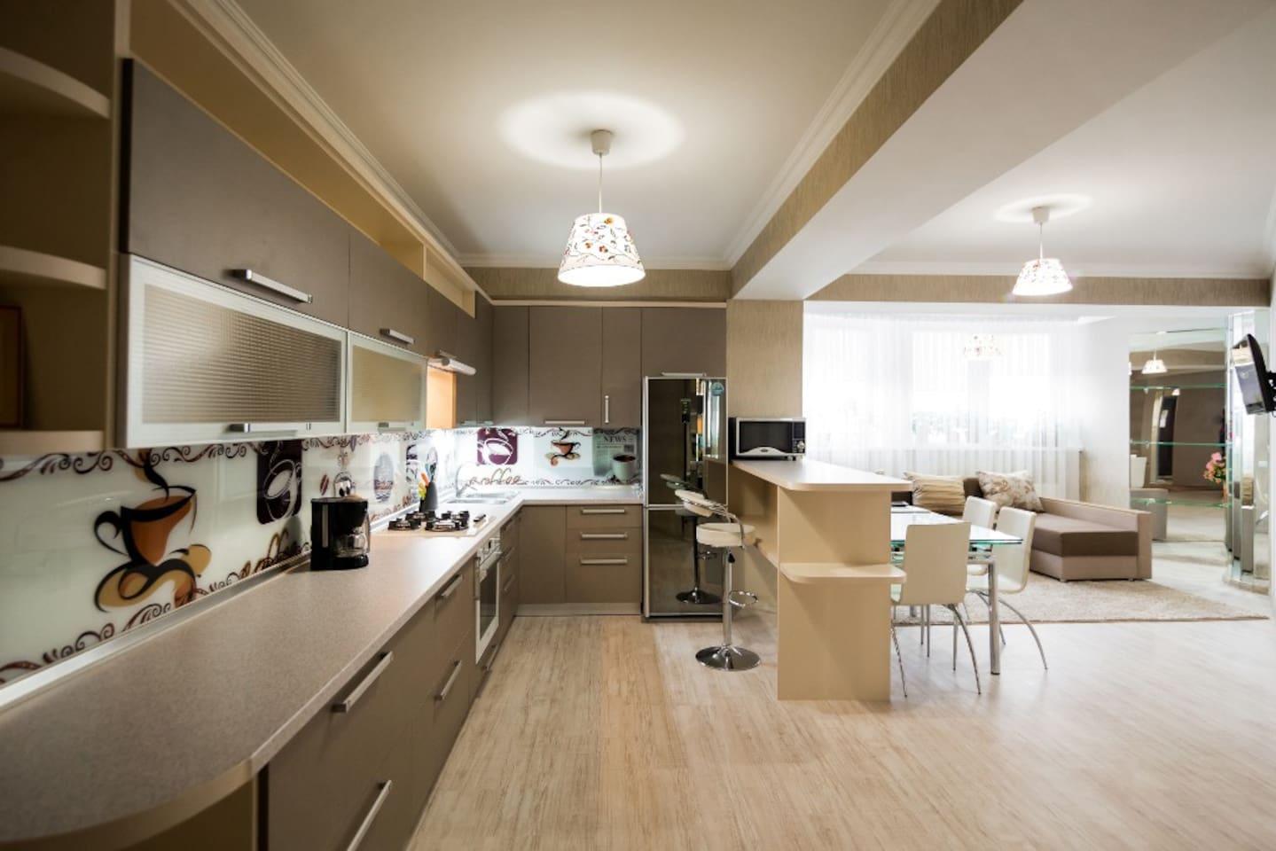 Kitchen area studio with living
