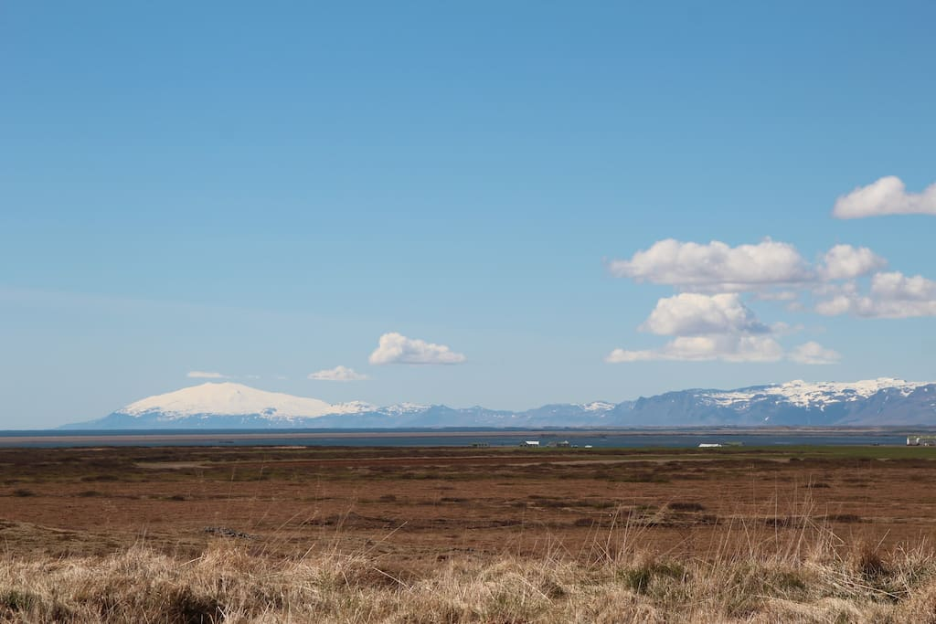 View to Snæfellsjökull glacier from the cottage (about an hour drive).