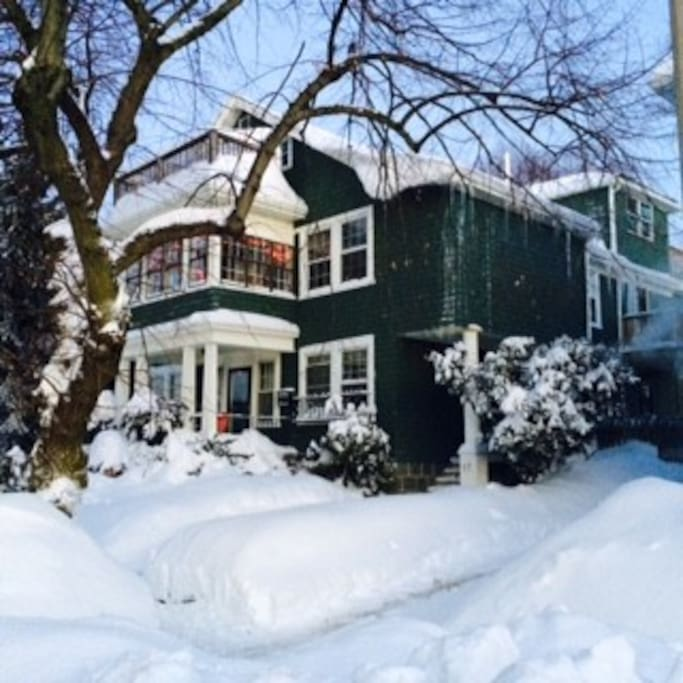 A lovely full view of the home during one of our MANY blizzards this winter!