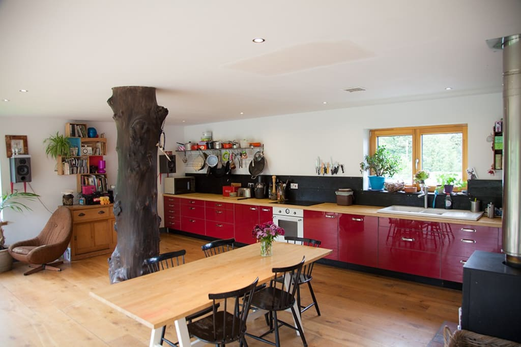 Our spacious Kitchen/Diner is  a real treat. It has huge windows all across one side of the room and kitchen units all along the other side. Its a great place to relax and share food and cooking duties.