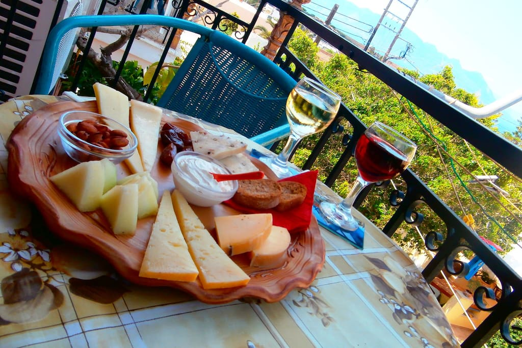Greek cheese plate and wine (our selections from all over Greece)