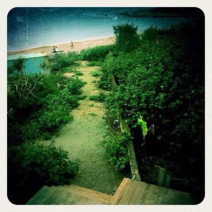 獨門院子沙陸小道可以直接到沙灘進入海水浴場