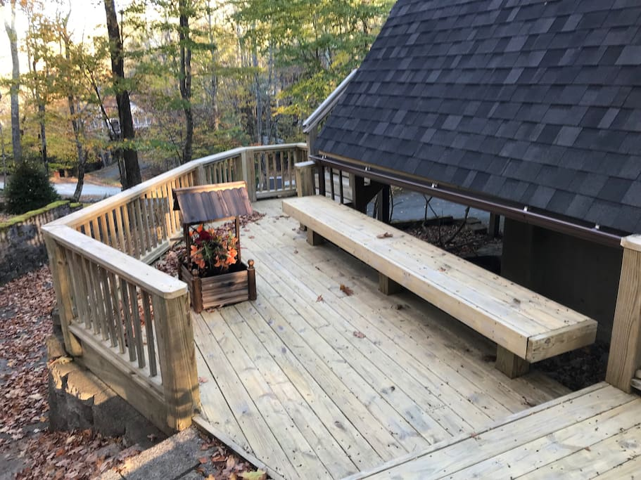 Deck wraps around house almost halfway. Great size  Area to just enjoy outdoors, grill, or sit by chimnea