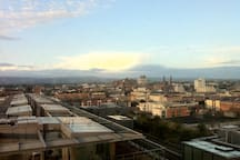 View from bedroom over Dublin at Dawn towards the Guinness Storehouse and the mountains beyond