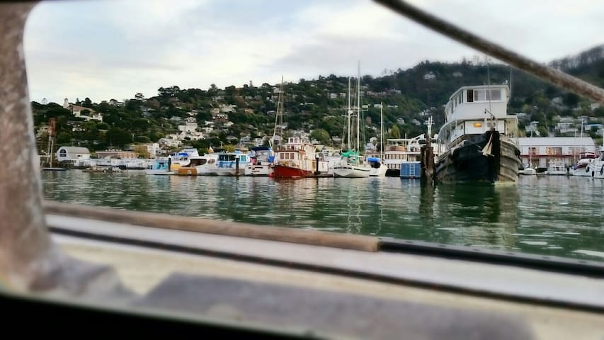 "View from an ""anchor-out"" location of Sausalito, CA."