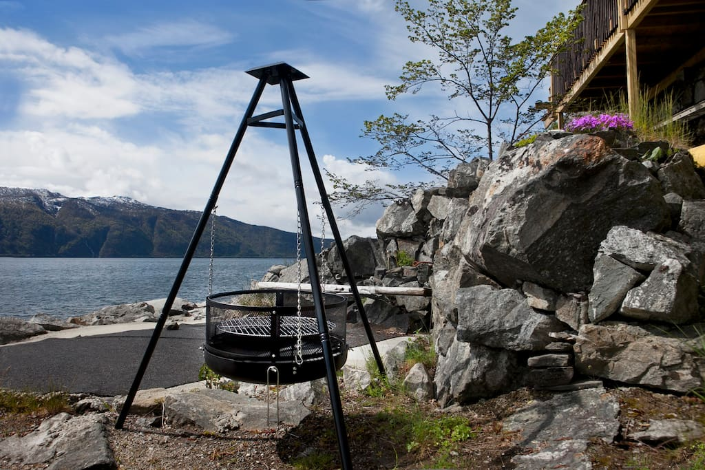 BBQ area by the fjord.