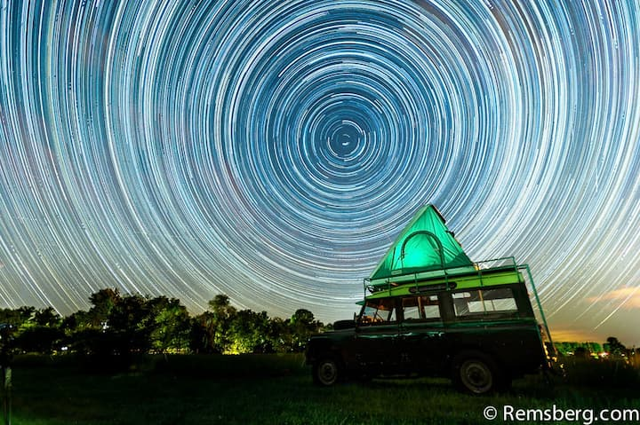 Glamp in a classic safari Land Rover