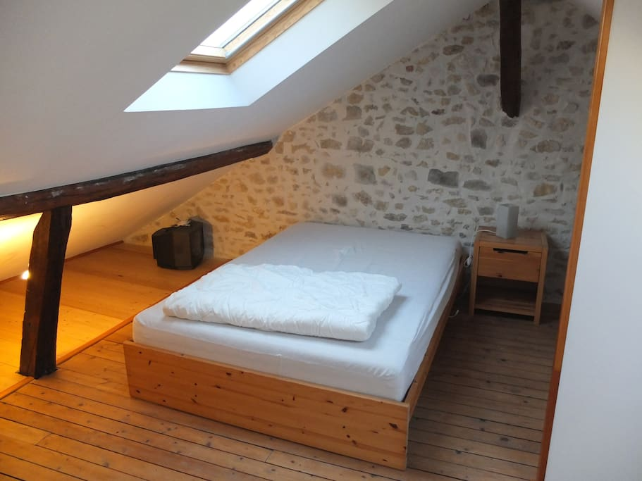 Upstairs double bed, bedside  table, chest of drawers, light, spacious, quiet