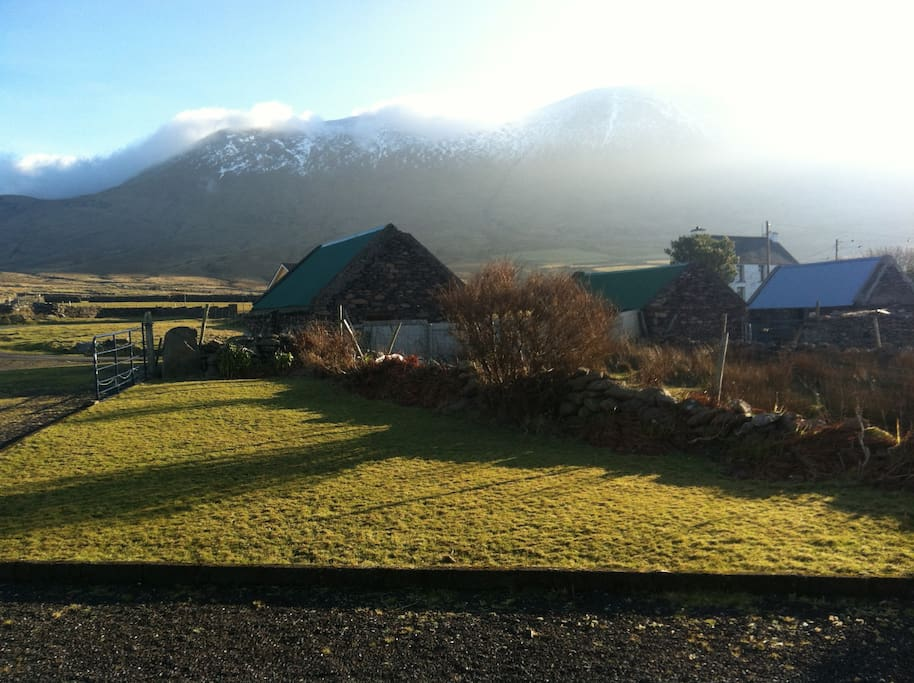 View of Mount Brandon from   cottage front door ,situated on Dingle way walking route .