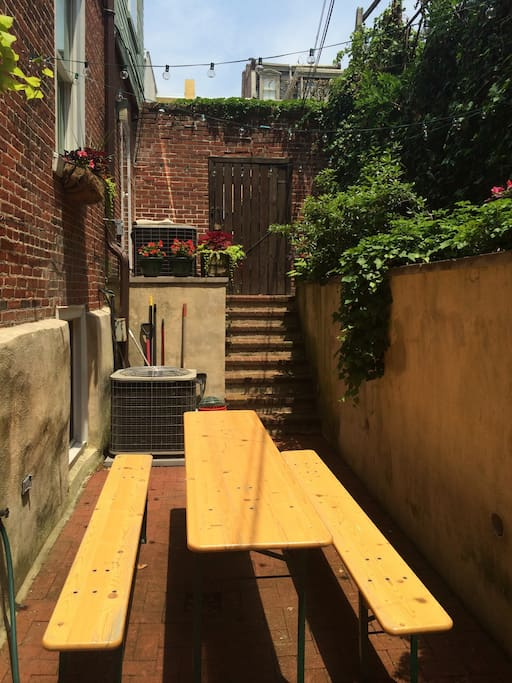 Private patio with beer garden table