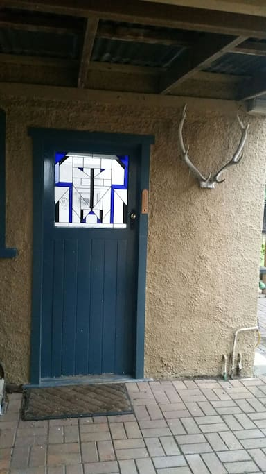 Art Deco stained glass entrance door