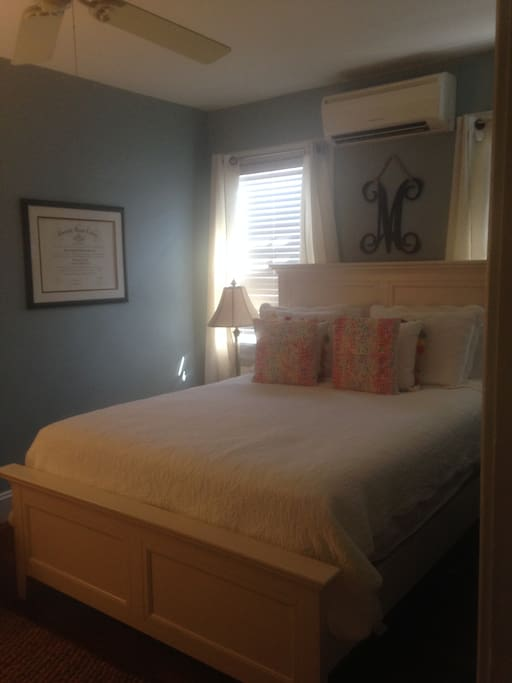Master bedroom with large closets for storage