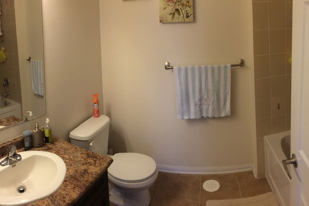 The upstairs bathroom; the picture doesn't do it justice, but it is a clean space with a tub and a shower option