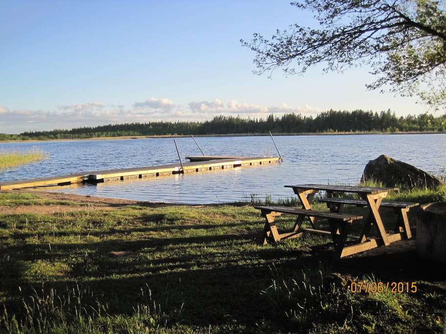 Beach 3,5 km from the house. A little lake called Rastsjön.
