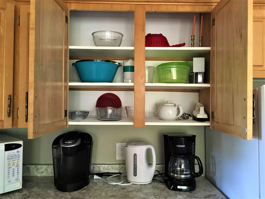 The kitchen utensils and dishes you may need.