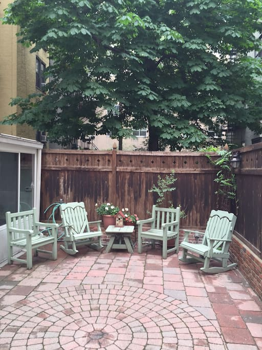 Your quiet outdoor patio/ garden located directly off the four season room.  It's a spacious 13' x 24'.