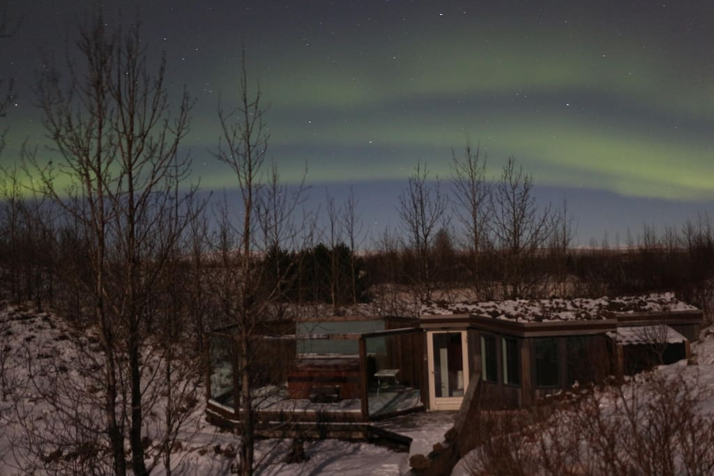 Northern lights over the house just before New year 2017/2018. Sent to us by one of our great guests