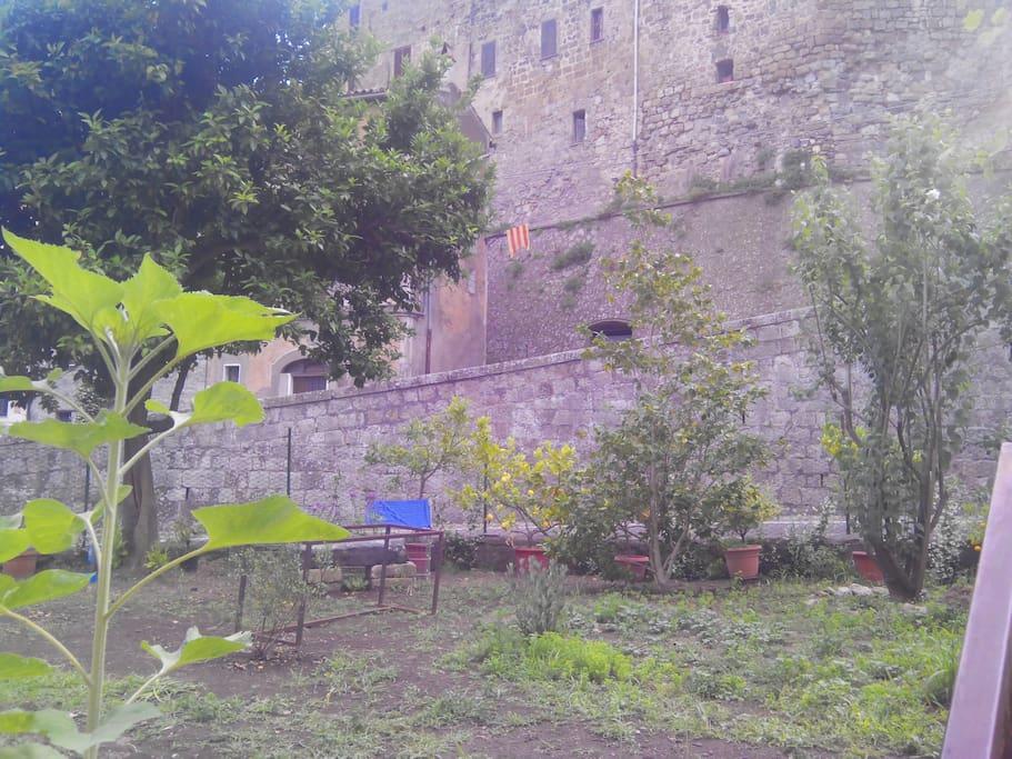 Garten mit Sicht auf die Burg