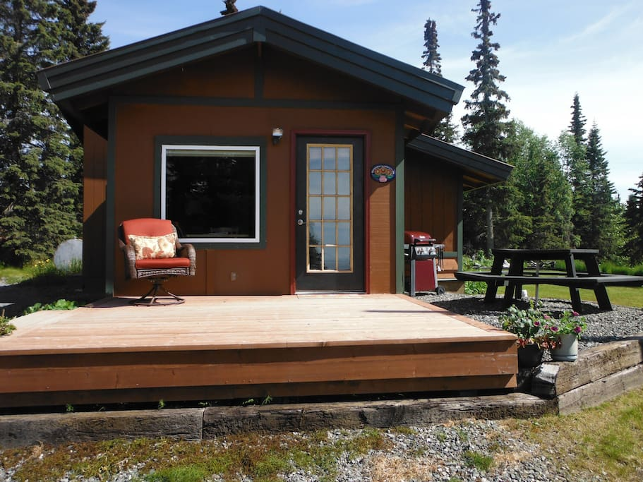 Enjoy your own porch, picnic table and gas grill.